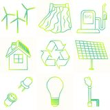 Vector set of simple eco related outline gradient icons. Contains icons for different types of electricity generation Stock Images