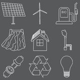 Vector set of simple eco related outline icons. Contains icons for different types of electricity generation: wind generators. Solar panels, biofuel Royalty Free Stock Images