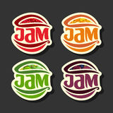Vector Set simple Fruits Jam Labels. Collection set of abstract label red jam, decoration fruit yellow logo or design sticker of icon orange jams, emblems Stock Images