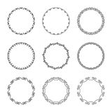 Vector set of simple narrow frames and flourishes and curls vector illustration