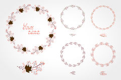 Vector set of simple round frames with autumn leaves Stock Image