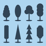 Vector set of simple silhouette tree icons Stock Photo