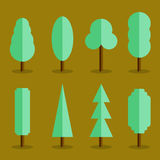 Vector set of simple tree icons flat style Royalty Free Stock Image