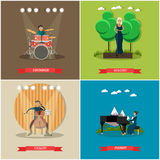 Vector set of singers and musicians concept flat posters vector illustration