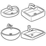 Vector set of sink. Hand drawn cartoon, doodle illustration stock illustration