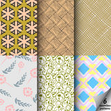 Vector set of six colored seamless pattern. Modern stylish texture. Repeating and interlocking geometric tiles with rhombuses,lines, floral ornament. Seamless stock illustration