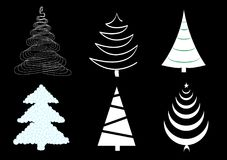 Vector set of six different christmas trees isolated on the black Royalty Free Stock Photo
