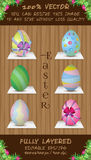 Vector set of six Easter color eggs. Stock Photography