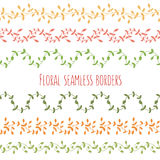 Vector set of six floral seamless borders with branches and leav Stock Photography