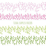 Vector set of six floral seamless borders with branches  Royalty Free Stock Photos