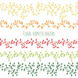 Vector set of six floral seamless borders with branches Stock Images