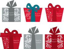 Vector set of six gift box cards Stock Image