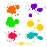 Vector set of six ink colorful splashes Royalty Free Stock Photos