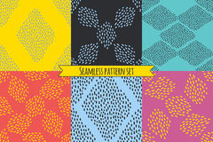 Vector set of six repeating designs in bright trendy colors. Royalty Free Stock Photo