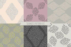 Vector set of six repeating designs in trendy neutral colors. Royalty Free Stock Photo