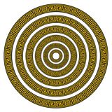 Vector Set of Six Round Greek Key Borders of Various Sizes. In Black and Gold Royalty Free Illustration
