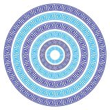 Vector Set of Six Round Greek Key Borders of Various Sizes. In Blue Stock Illustration