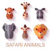 Vector set of six Safari animals on white Stock Photography