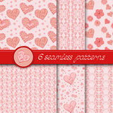 Vector set of six seamless hand drawn patterns. For Valentine's Day. In pink color Royalty Free Stock Photo