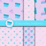 Vector set of six seamless patterns with gift boxes and bows. Royalty Free Stock Photography