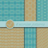 Vector set of six seamless patterns with hand drawn floral element Royalty Free Stock Images