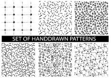 Vector set of six seamless patterns. Royalty Free Stock Photography