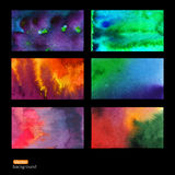 Vector set of six watercolor abstract hand drawn background,vect Stock Photography