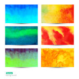 Vector set of six watercolor abstract hand drawn background,vect Stock Image