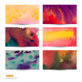 Vector set of six watercolor abstract hand drawn background,vect Royalty Free Stock Photo