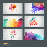 Vector set of six watercolor abstract hand drawn background, vect