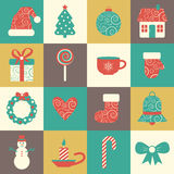 Vector set of sixteen colorful christmas icons Royalty Free Stock Image