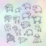 Vector set of sixteen cute sheep Royalty Free Stock Photos