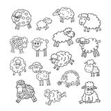 Vector set of sixteen cute sheep. Endless texture can be used for printing onto fabric, paper or scrap booking, wallpaper, pattern fills, web page background stock illustration
