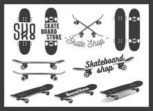 Vector set of skateboard emblems, labels, badges Stock Photography