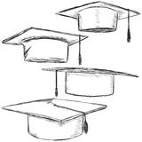 Vector Set of Sketch Academic Hats. On White Background Stock Image