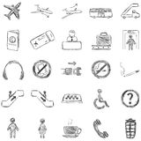 Vector Set of Sketch Airport Icons Royalty Free Stock Photos