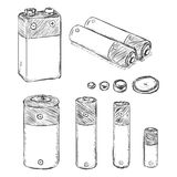 Vector Set of Sketch Batteries Stock Images