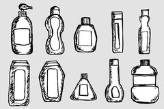Vector Set of Sketch Bottles Stock Photo