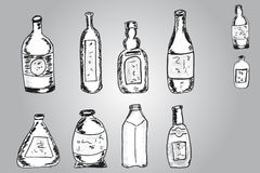Vector Set of Sketch Bottles Royalty Free Stock Images