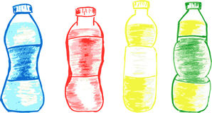 Vector Set of Sketch Bottles Stock Image