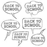 Vector Set of Sketch Bubbles - Back to School. Royalty Free Stock Photos