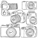 Vector Set of Sketch Cameras Royalty Free Stock Images