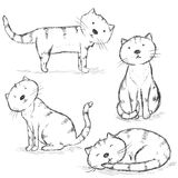 Vector Set of Sketch Cat Characters Royalty Free Stock Image