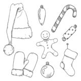Vector Set of Sketch Christmas Symbols. Clothes and Decorations. Vector Set of Black Sketch Christmas Symbols. Clothes and Decorations royalty free illustration