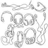Vector Set of Sketch Circumaural Headphones Royalty Free Stock Photo