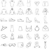 Vector Set of Sketch Clothes Icons Royalty Free Stock Photography