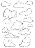 Vector set of sketch clouds Royalty Free Stock Photo