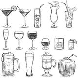 Vector Set of Sketch Cocktails and Alcohol Drinks Stock Photo