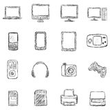 Vector Set of Sketch Computer Devices Icons Stock Photos