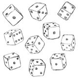 Vector Set of Sketch Dices. On White Background Royalty Free Stock Image